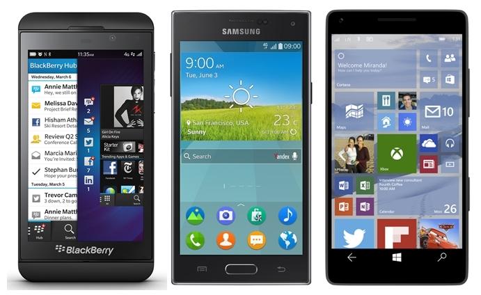 Tizen Blackberry Windows Mobile